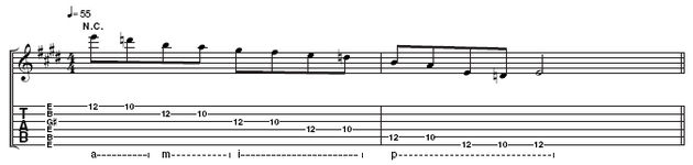 Example 5: This is Sonny's scale, played at the 10th and 12th frets on all six strings. The resulting notes give you a six note scale: 1 2 3 4 5 b7, which is basically the mixolydian mode with the sixth omitted. Pay close attention to the right hand fingering under the notation. If you're not sure what it means, look at our tab guide linked to in this article.