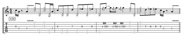 Lick 4: This solo doesn't follow a set pattern, but uses similar ideas to the other three fills. The muted notes will help you maintain your groove throughout, so concentrate on making the pick hand comfortable before targeting all the notes.