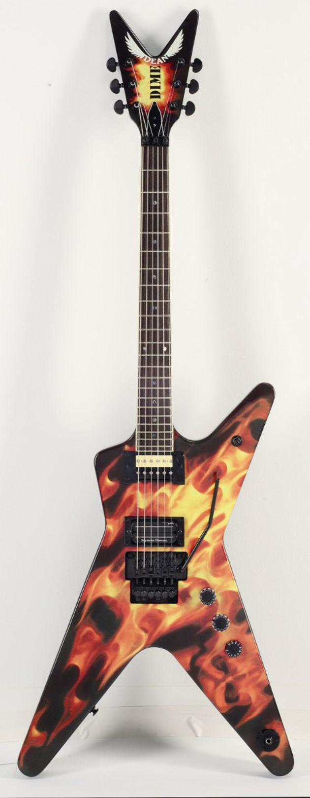 The Dime-O-Flame offers a solid mahogany body and set mahogany neck