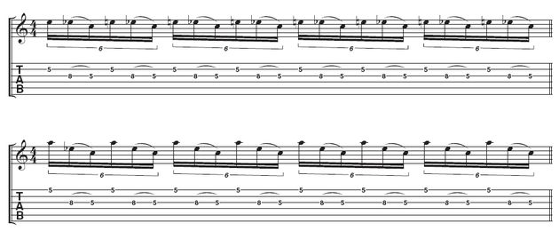 Example 1 - Licks 1 and 2: These repeating licks both use essentially the same technique and picking. Remember to begin with an upstroke.