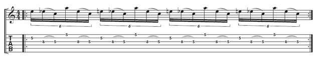Example 2 - Lick 3: Paul gradually adds more to the lick by putting both parts together. Concentrate on keeping that repeating triplet feel throughout. At first, play at a slow speed to ensure each note sounds clearly.
