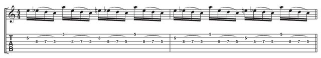 Example 3 - Lick 4: The final lick uses an extra pull-off on the third string, with the feel now in fours not threes. Moving from the second to the third string is easier than the wider string skip, so you may like to perfect this part of the lick first.
