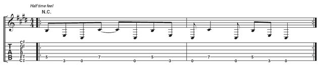 Riff 2: This is essentially the same riff with a longer C# at the end of bar 2. This helps it fit nicely into a 4/4 groove.