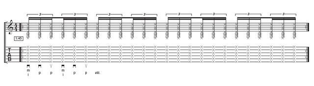 Tab: Triplets - If you have cracked the basic rhythm, you will find these triplets surprisingly easy to master. The hand movement stays the same and you simply add the downstroke with your thumb. Take a break when your wrist gets tired and make sure you follow Gabriela's warm-up instructions - don't try to work through the pain barrier!