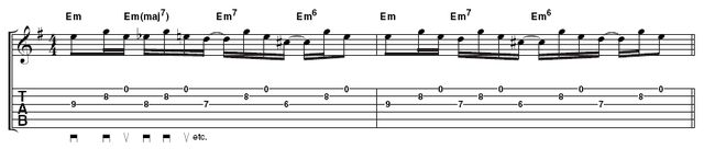 Example 1 - Latin arpeggios: Pay attention to Rodrigo's fretting hand and watch how he moves from one shape to the next. Keeping your third finger on the 8th fret, B-string will act as a pivot for your other fingers.