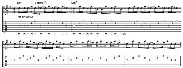 Example 2 - rhythm variation: There's a lot of variety here, so you may want to start with each two bar phrase. Once you have learned these, it's a question of coming up with your own ideas. Notice how the first of each E, Eb, D and C# all occur at the same time in each bar. This should provide you with a basic rhythm over which you can improvise.