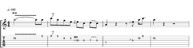 Example 1: First stating the root note with the trademark fast, shallow vibrato, you then move to a carefully stated descending blues scale passage. Note that whenever a C appears it's usually bent slightly sharp.