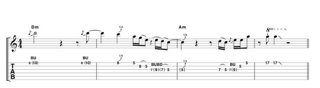Example 3: Moving to the D minor chord, this phrase demonstrates how comfortable B.B. is on any register of the fretboard at any time. Having played an almost funky blues lick in the standard position of the A blues scale, he would jump right up to the 17th fret for a couple of cheeky stabs on the root note.