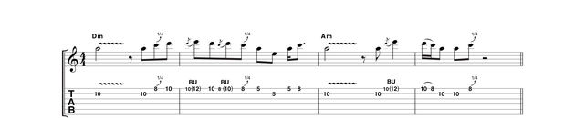 Example 4: As the chords from D minor back to A minor, we're using the second position of the A blues scale, with whole and quarter-tone bends in quick succession in bar two. This must be attacked with confidence or all is lost!