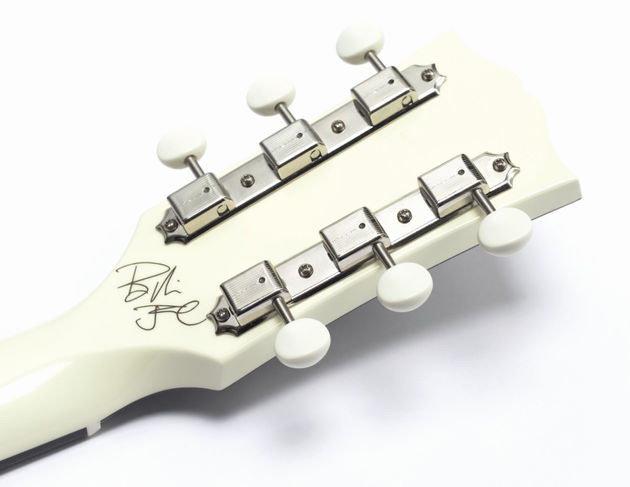It may be a signature model, but Billie's mark is hidden on the back of the headstock