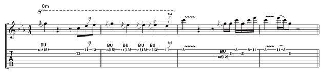 Lick 2: More tricky string bends here. There's no need to rush through them though, as this should sound very deliberate. There's a chance to show off more speed in bar 3.