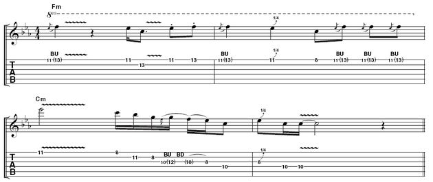 Lick 3: You're off to a syncopated start here, leading through to a series of bends including a two-tone bend that Albert was very fond of. The last pentatonic phrase is similar to his playing on Oh Pretty Woman with Gary Moore.