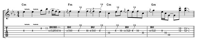 Lick 5: This is a great way to bring an Albert King-style solo to its conclusion. Again, whole and quarter-tone bends abound, but there are less pentatonic freakouts and a couple of cheeky stabs at the end.