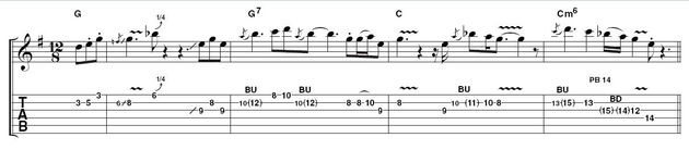 Example 1: simple opening idea.  To introduce an emotive solo, try stripping away any unnecessary embellishment and focus on the essence. It would be morally wrong to start blabbering on about scales here, so just have a look at the fingering, then have a wail.