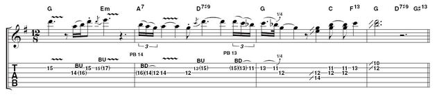 Example 4: string bends and doublestops.  Pay meticulous attention to pitching on string bends and don't neglect the quarter tone ones. Details like this are where that elusive authentic sound comes from. Also, note the melodic doublestops at the end. Theyre not technically difficult, but would you have thought of trying them?