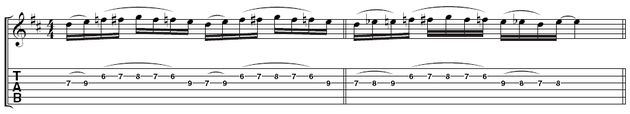 Example 2 - Adding chromatic notes: Marty adds some chromatic passing notes in two ways here. Pick the note at the start of each repetition strongly to keep the rhythm going.