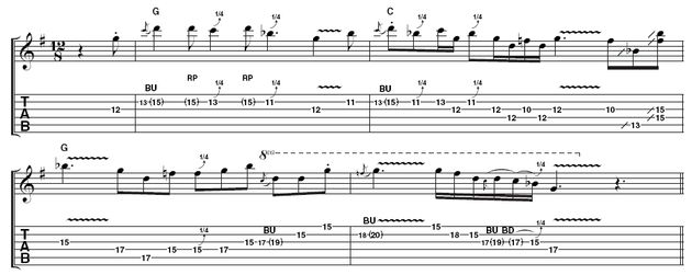 Example 2: Here's another take over the same backing, again using the G blues scale, but in a higher position. As with Example 1, there are lots of quarter-tone bends and a Hendrix-style wide vibrato - not easy on the heavy .012 gauge strings Stevie liked to use. Exaggerate the staccato notes and really let rip on the slides in bar 2.
