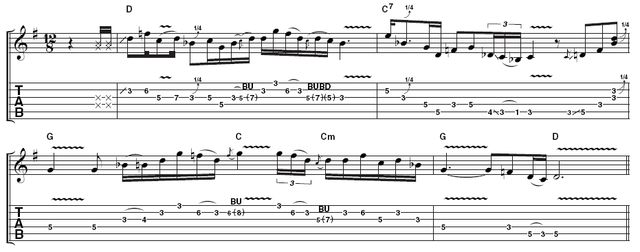 Example 4: Syncopated phrasing like this can be heard at the end of Stevie's solo in Crossfire, and is a very important part of his style. It takes time to develop the confidence to dance across the beat in this way, but once you've locked in to the timing, it's a really useful way to make your phrasing more interesting. Milk those string bends!