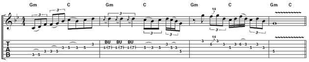 Example 1: Be sure to watch the video as well as looking at the tab because Rory's expressive pentatonic bursts are difficult to get a feel for from the printed page alone. Really 'push and pull' the timing of the triplets in bar 2 when you're playing.