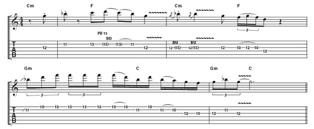 Example 3: Rory didn't confine himself to purely pentatonic phrasing. This example is given a jazzy feel by the fragments of Gmin7 arpeggio in bar 3.
