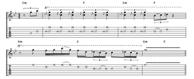 Example 4: Using pick and fingers for better definition, this example showcases the insistent repetition Rory would use to build drama in his solos.