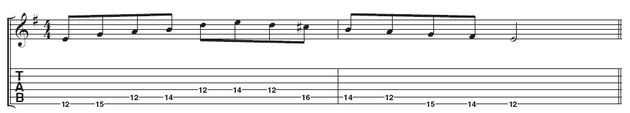 Example 1: Play the minor pentatonic scale ascending, and the Dorian mode descending until you're familiar with the patterns.