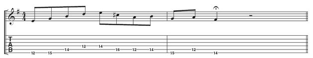 Example 2: This simple line combines the two scales. See how Alex skips a lot of notes instead of playing straight up and down the scale. This really helps your playing sound more melodic.