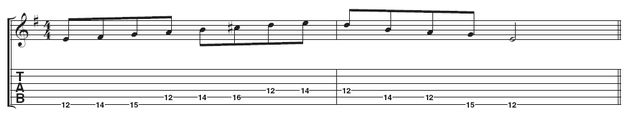 Example 4: This example is a variation: up the Dorian mode, down the minor pentatonic. If this is too much of a stretch, try playing the C# on the 4th string on the 11th fret. Remember this is an exercise, so it sounds pretty boring as a lick.