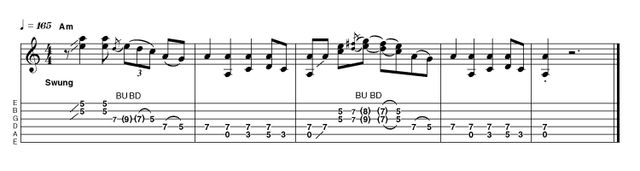 Slightly more gain for some edge and some bent double-stop licks give this intro a little more attitude. Bars 2 and 4 also double up on the fourth and fifth strings. Not too much harder than the easy version, but to make it sound 'right' takes a little work.