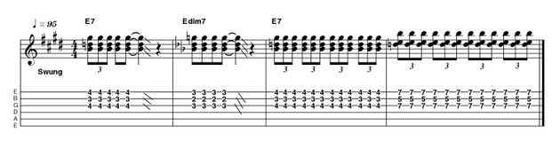 Using 7th and diminished chords (you get the diminished by simply dropping down a fret in this case) this intro is played with quite a heavy picking hand, to maximise its impact. Remember, this would be your first and last chance to grab an audience's attention!