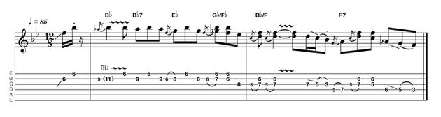 Taking a more solo-based approach, this intro employs fragments of the original descending line, building into some Hendrix style double-stops. A little wobble with the vibrato bar (if you have one) can add some nice extra expressiveness.