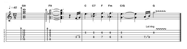 Rake through those 9th chords and wobble a little with the bar if you have one. Combined with a little reverb it gives a nice shimmer. A combination of descending line and spelling out the chords a little like Eric Johnson and we're ready for vocals...