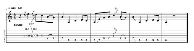 Another intro identical to how you might play the body of the song, with no turnarounds or diminished chords. It's deceptively tricky, so be patient with yourself. A little bit of gain is nice, but too much crosses over into rock territory and is harder to control.