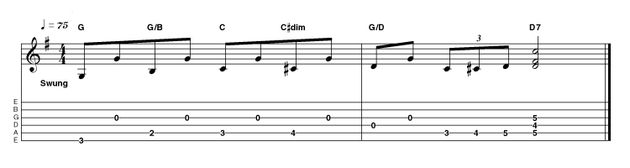 This ascending turnaround leads to the V chord again (D in this case). Keep the feel swinging and bouncy and dig in confidently with thumb and fingers. A pick will give a more modern sound if desired.
