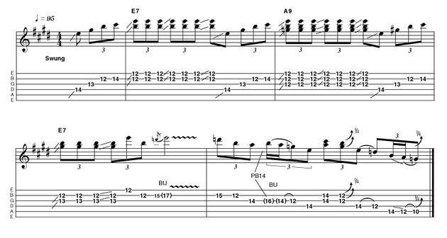 Calling to mind a higher class of Beano reader, the gain is turned up here, though not quite to 'rock' levels. Details like timing and quarter-tone bends are all important to give the right bluesy effect. Take your time developing these skills and you can't lose!