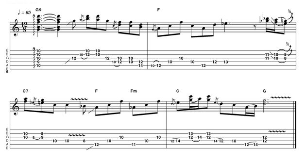 Starting with a raked G9 chord, this intro quickly moves into Hendrix/SRV territory with a series of double-stops. Take your time to find the most comfortable fingerings and don't neglect the all-important quarter-tone 'blues curl'...
