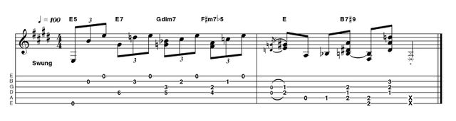A fancier spin in the previous idea, the chord voicings here are expanded for a jazzier feel. Play with confidence for the best effect!