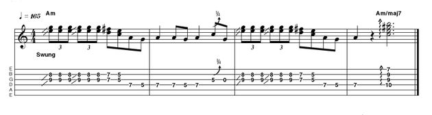 Another spin on a previously used idea using rapid-fire double-stops. As always, watch for the quarter-tone bends that are a classic blues fingerprint - and how about that delightful Am/maj7 chord that creates a very sophisticated finish.