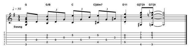Taking a more chordal approach, the ascending bass line is preserved, even when we reach the 'surprise' D11 chord. This is a great example of spicing up a classic progression. Use thumb and fingers for simultaneous notes and to avoid the unused strings on those 7#9 chords at the finish.