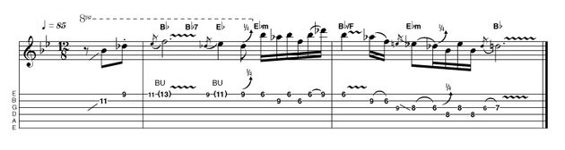 Taking a more SRV or BB King approach, this pentatonic phrasing is another example of the importance of string bending in the blues. Even if the phrase is easy for you technically, there are always improvements you can make on these little details...