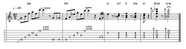 It's nice to give these chords a little tremolo shimmer, but spelling them out in bar 3 gives an even nicer spin on the classic descending sequence. The 13th chords add a cool jazzy finishing touch.