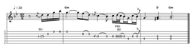 Busier and with a fair amount more gain, here is an alternative/advanced take on the same backing. After the pickup bar, really dig in to that first G for some stinging vibrato. We've opted again to follow the final chords, this time with two double-stops, like Peter Green.
