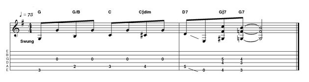 The concept of an ascending figure followed by the semitone chord movement is put to good use again here, this time in the key of G, a favourite of Robert Johnson. Let all the open strings ring together for some interesting implied chords...