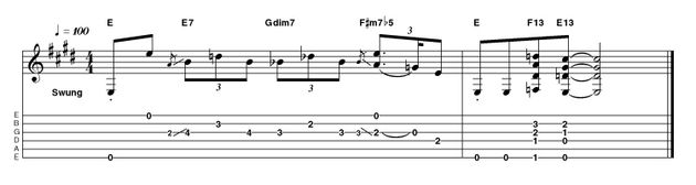 Using a similar template to the easy version, we've opted for a descending figure this time, with a little double-stop trickery and some fancier 13th chords bringing things to a close. These are best played with thumb and fingers to sound all the notes simultaneously and avoid unwanted strings.