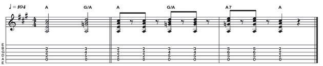 Example 10: The Mixolydian Tonality - Now let's look at the fifth mode of the D major scale: A Mixolydian. Here we take triads from the IV and V degree of D (G and A), and play them against an A bass note. Once again theorists may know that the G triad played against A gives the notes of an A11 (or G/A) chord, which complements the Mixolydian sound perfectly.