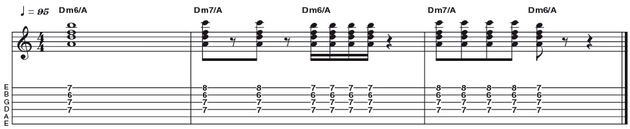 Example 15: Minor 7 to Minor 6 Move - Here is a great move that can be used in funk, where we take a stock minor 7 chord and lower the b7 interval by a semitone to create a minor 6 sound for a very authentic sounding 'Prince' vibe - the high guitar break in Kiss is a textbook example of b7 to 6 movement.
