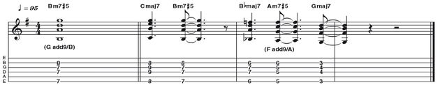 Example 26: Minor 7 #5 - The unusual m7#5 (R b3 #5 b7) works in a variety of fusion, funk and soul settings. Here it bridges a set of descending maj7 chords to maintain a chromatic voice lead. Steely Dan see it as an add9 in first inversion, nicknaming it the 'Dan chord'.