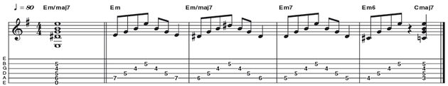 Example 29: Minor-Major 7 - The minor major7 chord (R b3 5 7) is great for suggesting a moving chromatic line in the bass. The fingering here is a departure from the often used 'Stairway To Heaven' shape, instead utilising the C parent form once more.