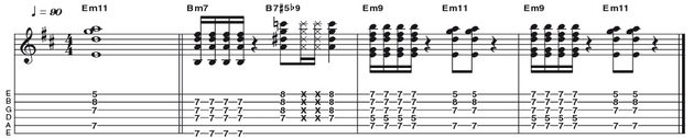 Example 34: Minor 11 - We turning things up to 11 now, with a versatile way of playing an E minor 11 (R b3 5 b7 9 11). You will already have seen that it is common on guitar to omit nonessential intervals in order to improve the tonal quality or ease the fingering of a chord. In this case we are using just (R b3 b7 11).