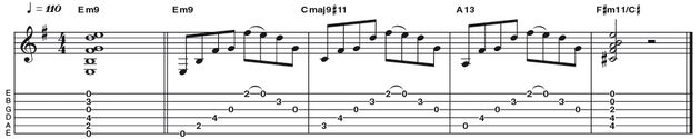 Example 38: Minor 9 - Here is a great way to play an E minor 9 voicing in a less jazz-funk vein. By using the open strings where available we can further embellish the chord with a pull-off on the first string from the 9 (F#) to the root (E). Notice how the shape can also be maintained to articulate other chords from the key.